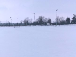 north kildare club in the snow of storm emma